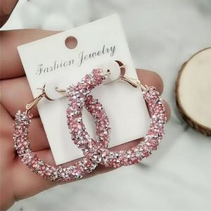 New Shiny Circle Frosted Crystal Big Earrings